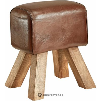 Leather stool on wooden legs