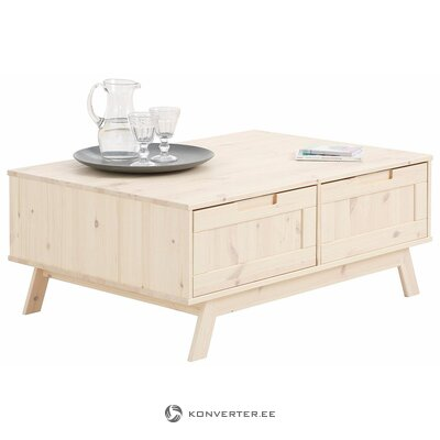 White solid wood coffee table with 2 drawers (ohio) (whole, in box)