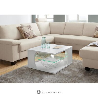 White wheeled coffee table with led lighting (defects, hall sample)