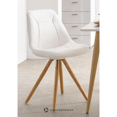 Мягкий белый дизайнерский стул на деревянных ногах