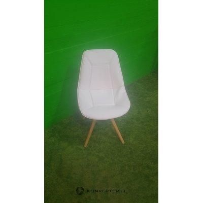 Soft white designer chair on wooden feet