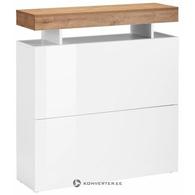 Бело-коричневый глянцевый шкаф для обуви