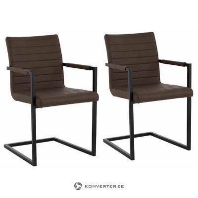 Roku balstu krēsls ar brūnu ādas apvalku (vesels, kastē)