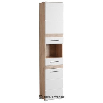 Brown-white high cabinet with 1 drawer and 2 doors (tone)