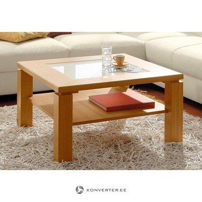 Šviesiai rudas mažas kavos staliukas su stikline (grožio klaida, dėžutė)