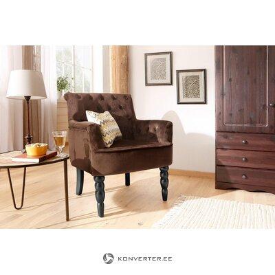 Кресло из коричневого бархата с подлокотниками