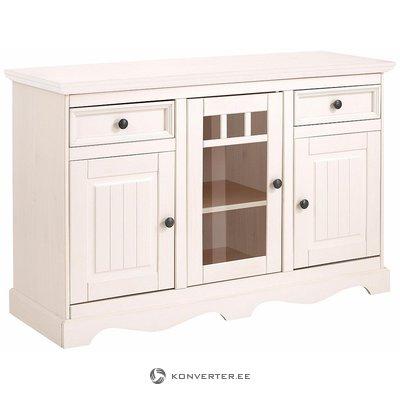 Valkoinen suuri kaappi 3, jossa on ovi ja 2 laatikkoa sisustukseen
