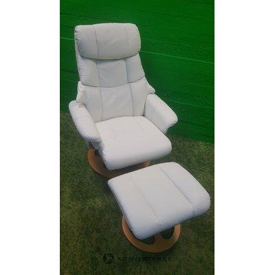 Valkoinen täysi nahkainen nojatuoli peräkkäin