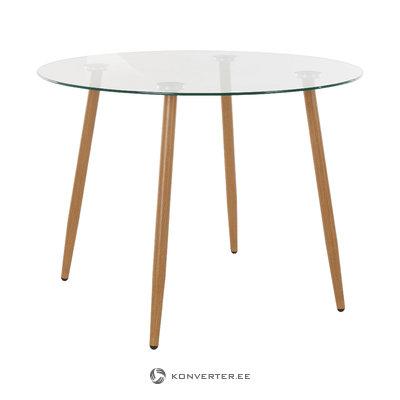 Mngu ruokapöytä pyöreä lasi / tammi