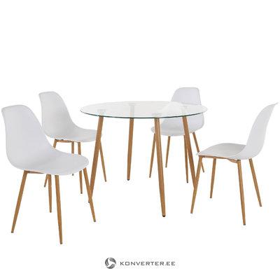 Mingu set Round table - White Plastic
