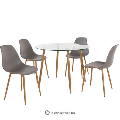 Mingu set Round table-Light Grey Plastic