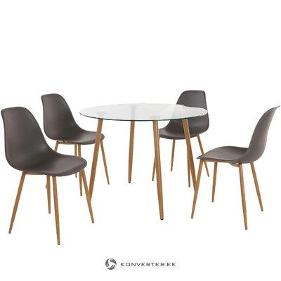 Mingu set Round table-Anthracite Plastic