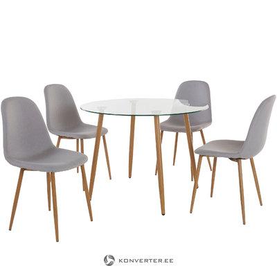Mingu set Round table - Light Grey Fabric