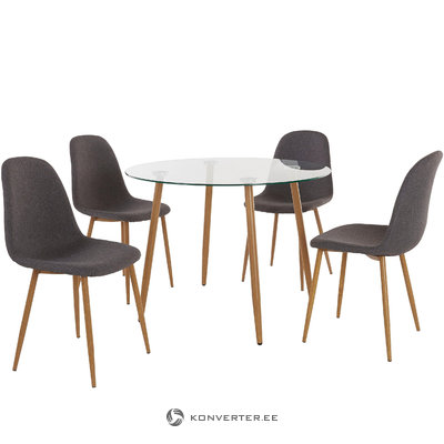 Mingu set Round table - Anthracite Fabric