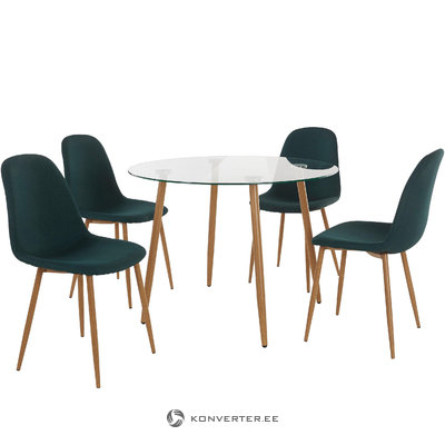 Mingu set Round table - Green Fabric