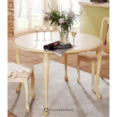 Beige round dining table (queen) (whole, in box)