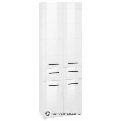 Balta blizgi spinta su 2 stalčiais ir 4 durimis (odos defektai, salės pavyzdys)