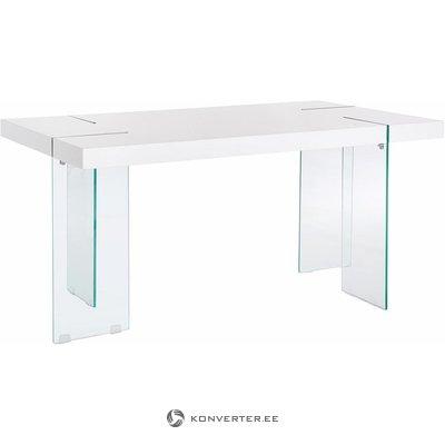 Valkoinen kiiltävä muotoilu ruokailuun lasinjalkojen kanssa