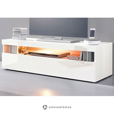 White high gloss TV cabinet (width 130cm) (with defects in the box)