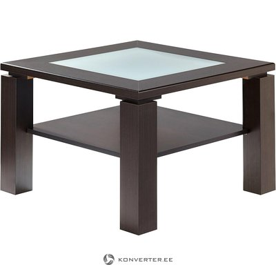 Dark brown small coffee table with glass (inosign) (with beauty defects, in box)