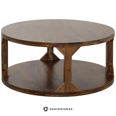 Dark brown round solid wood coffee table