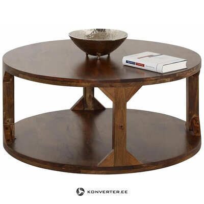 A round brown coffee table