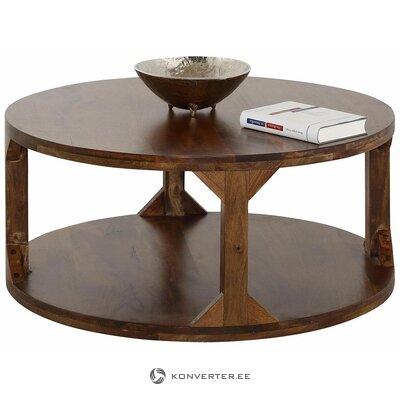 Apvalus rudas mango medinis žurnalinis staliukas (sharade) (salės pavyzdys)
