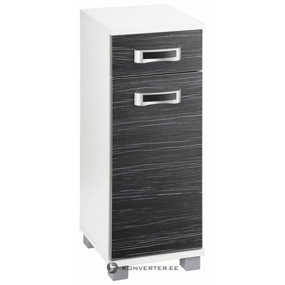 Black and white cabinet with 1 drawer and 1 door