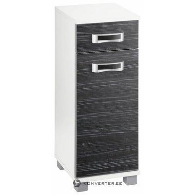 Musta ja valkoinen kaappi, jossa on 1 laatikko ja 1 ovi