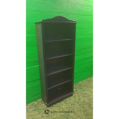 Dark brown solid wood bookshelf (with flaws., Hall sample)