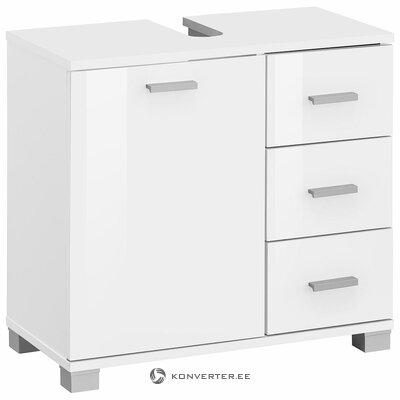 Тумба под умывальник белого цвета с 3 ящиками и 1 дверцей (цельная, образец для холла)