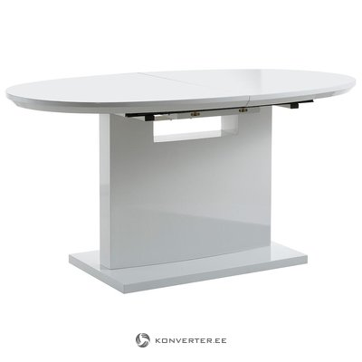 White oval high gloss expandable dining table (with strong beauty defects)