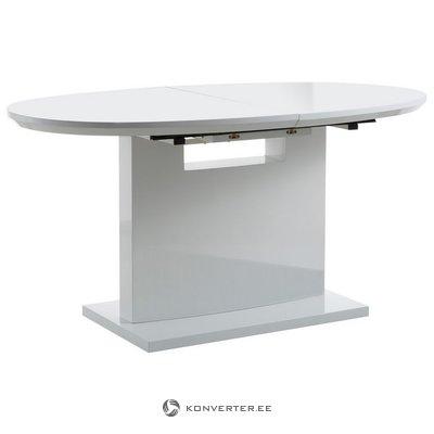 Baltas, ovalus, blizgus, plečiamas pietų stalas (su grožio trūkumais)