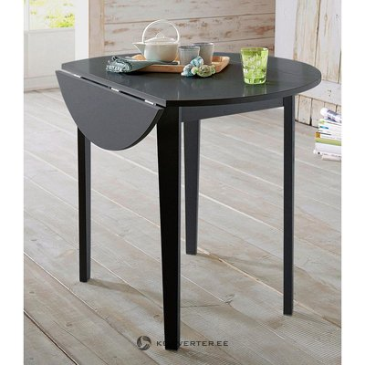 Black round expandable dining table