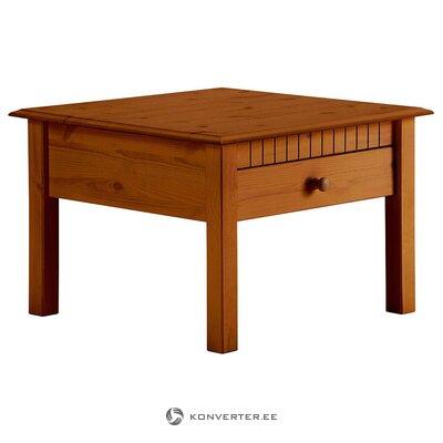 Brūns masīvkoka kafijas galdiņš ar 2 atvilktnēm (zāles paraugs)
