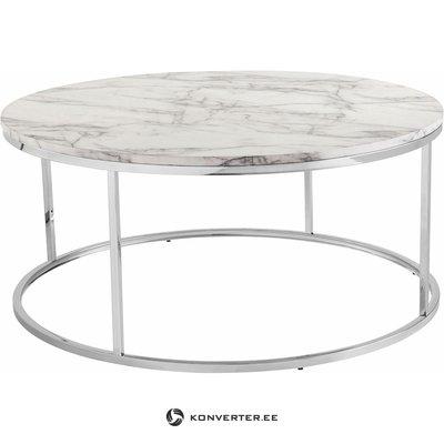 Apvalus marmurinis sofos stalas (su grožio trūkumais)