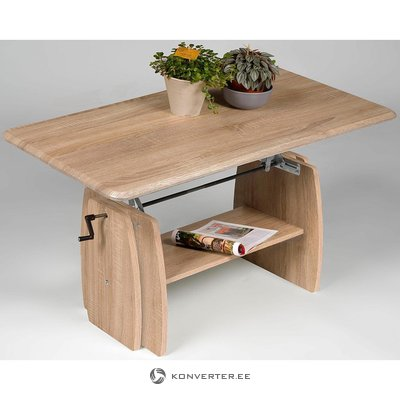 Säädettävä sohvapöytä (vaaleanruskea, täynnä, laatikko)