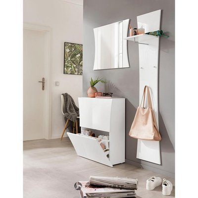White high gloss shoe cabinet (with beauty defects, in box)