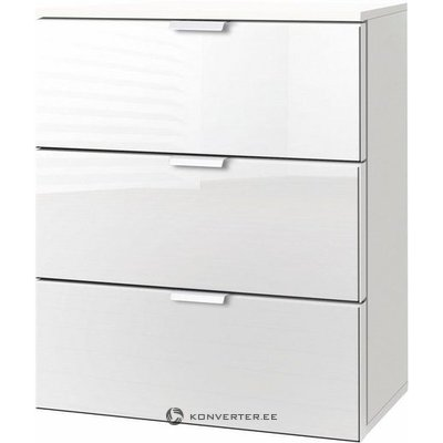 White 3 drawer bedside cabinet
