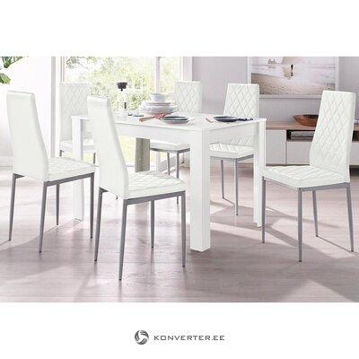 Pehmeä valkoinen tuoli metallijaloilla (brooke) (kauneusvirheillä. Hall-näyte)