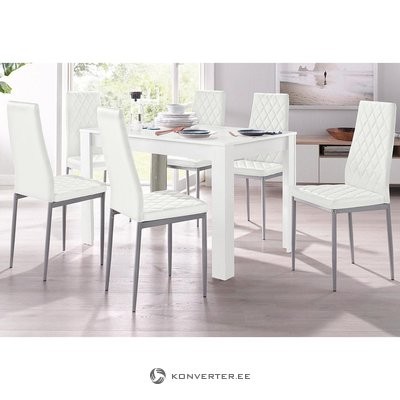 Soft white chair with metal legs (brooke) (box, whole)