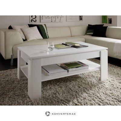 Balta kafijas galdiņš ar plauktu (defekti zāles paraugs)