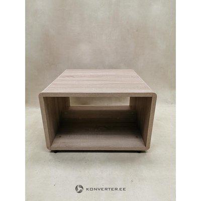 Vaaleanruskea sohvapöytä pyörillä (laatikossa, kauneusvikoilla)