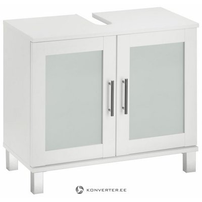 White sink cabinet with glasses (orlando) (beauty flaws, hall sample)