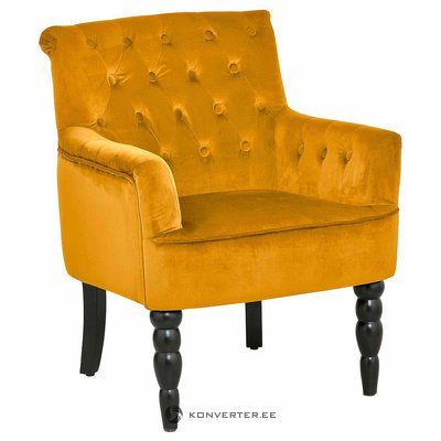 Yellow wicker armchair with armrests