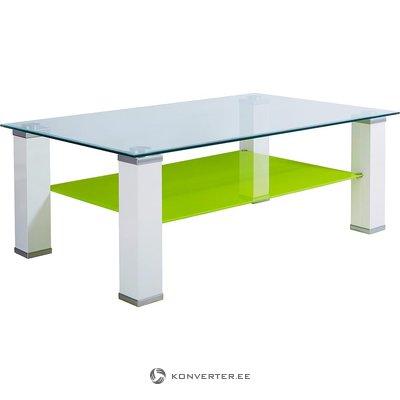 Balti zaļš stikla kafijas galdiņš (ar skaistuma defektiem, kastē)