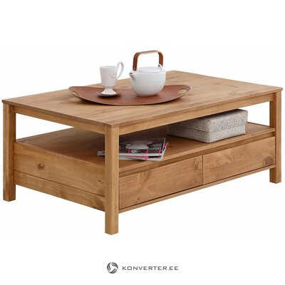 Brown solid wood coffee table (cube) (whole, in box)