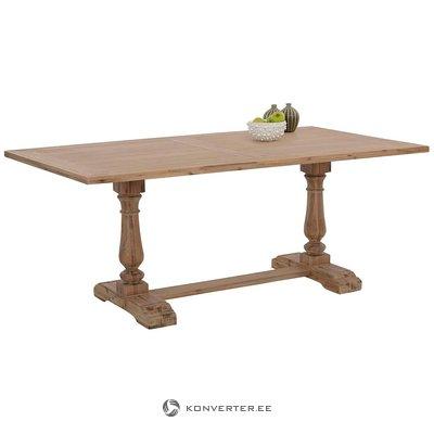 Ruskeat leveät ruokapöydät