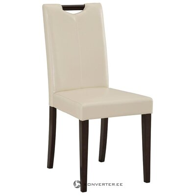 White-dark brown leather chair (hall sample, with flaw)