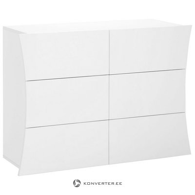 White high gloss chest of drawers (arco) (whole, sample hall)